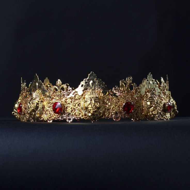 DANIEL Man Crown Kings Crown Golden Lion Headpiece Gold red Headband Burning Man #olenagrin #Crown