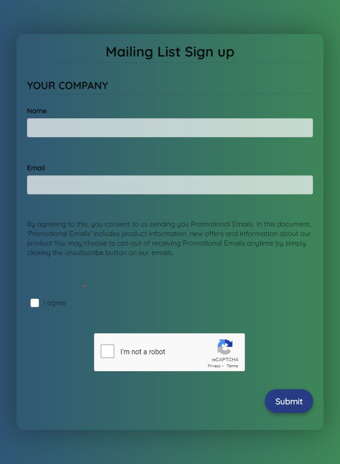 Mailing List Signup Form Mailing List Template Templates Signup