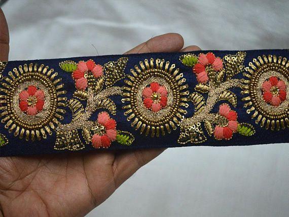 Indian Ethnic Colorful Trim Ribbon Sewing Craft Lace Sari Border