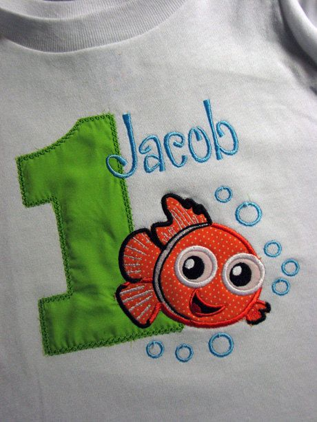 Finding Nemo Fish Birthday Shirt for Boys or by SewingByGrace, $22.00