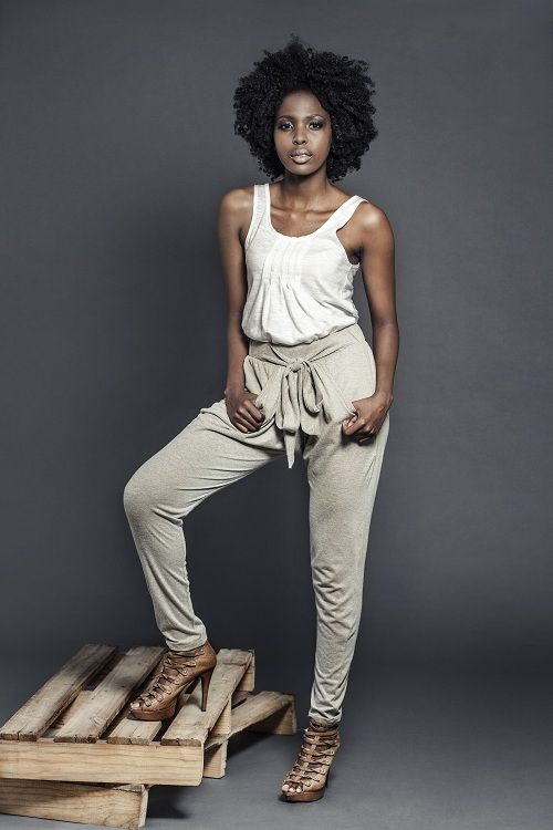 Ladies white pintuck vest with biscuit melange harem knit pants. For more information visit : https://www.facebook.com/pengellyclothing or https://www.pengelly.co.za