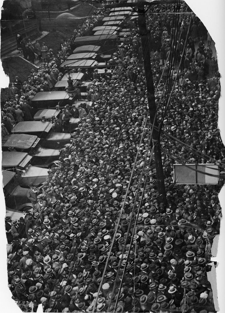 """Oct. 14, 1925: Pittsburgh was """"a city resurrected, a city crazy with joy, a baseball city,"""" declared the Pittsburgh Press on the day of the seventh and final game of the 1925 World Series. Outside Forbes Field's gates, a crush of Pirates fans gathered hours before the opening pitch."""