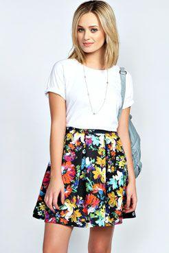 Bea Bold Floral Print Box Pleat Skater Skirt at boohoo.com