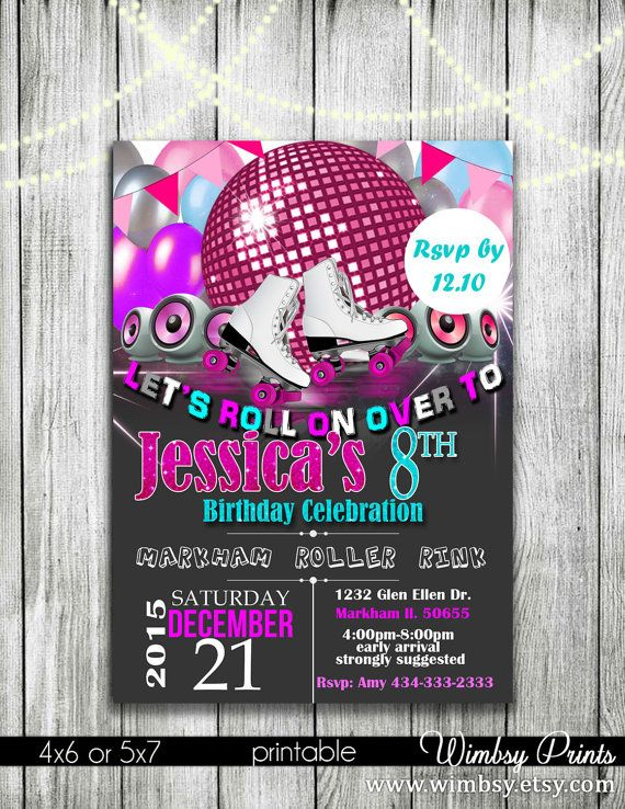 Roller skate invitation Roller skate party flyer by Wimbsy on Etsy