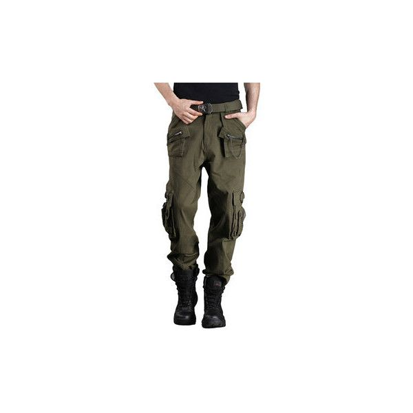 s Outdoor Camouflage Multi Pockets Casual Pants Military Tactical... ($48) ❤ liked on Polyvore featuring men's fashion, men's clothing, men's pants, men's casual pants, army green, men athleisure bottoms, mens overalls, mens camo pants, men's casual cotton pants and mens cotton pants