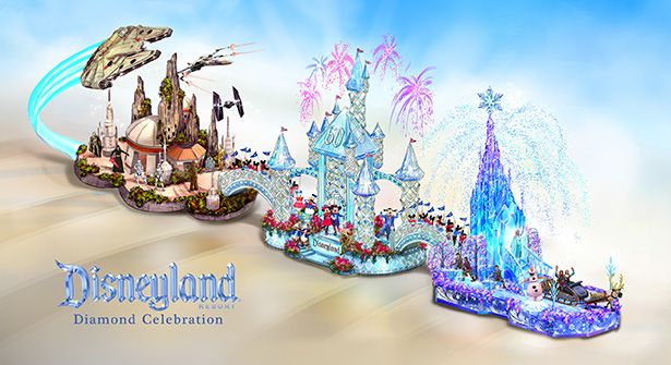 A Disneyland Resort Diamond Celebration themed float will appear in the 2016 Rose Parade, broadcast live from Pasadena, Calif., on January 1, 2016. http://di.sn/6498BPNF4