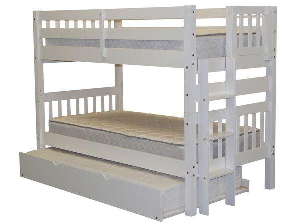 bunk bed twin over twin end ladder white trundle - Hausgemachte Etagenbetten Bilder