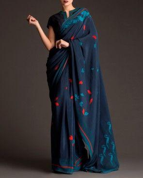 Midnight Blue Printed Sari