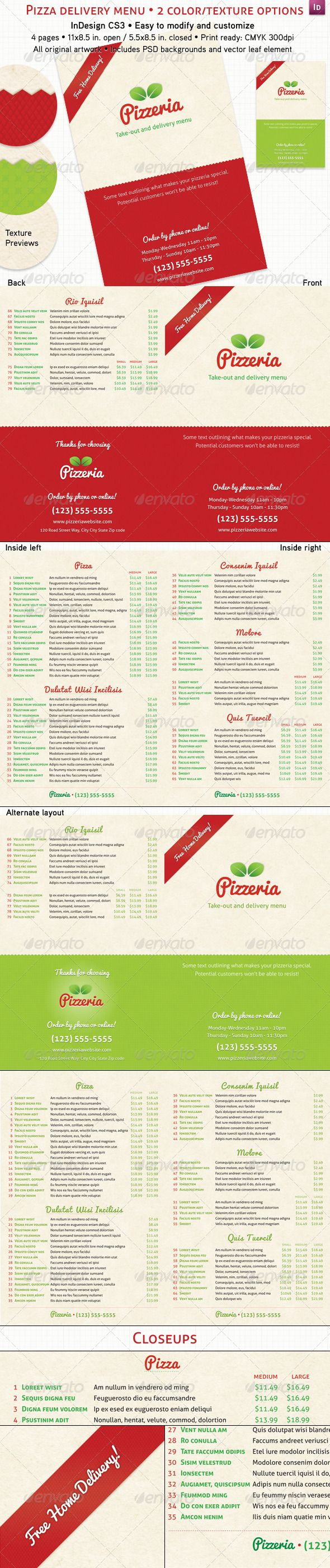4 Page Pizzeria Menu - Food Menus Template PSD, InDesign INDD, Vector EPS. Download here: http://graphicriver.net/item/4-page-pizzeria-menu/237687?s_rank=141&ref=yinkira