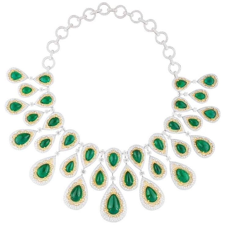 White Gold Zambian Emerald Set | From a unique collection of vintage more-necklaces at https://www.1stdibs.com/jewelry/necklaces/more-necklaces/