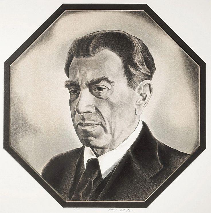 """Victor Shmokhin.  """"Рейнгольд Глиэр -русский композитор"""" . (Reingold Glier) 1977г. Бумага/ цветная автолитография."""
