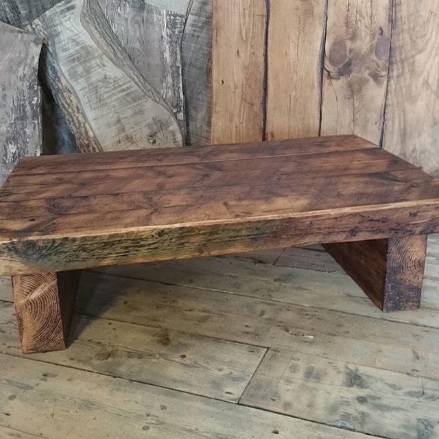 Low Rustic Coffee Table Put Your Feet Up Built Using Reclaimed Timber From A Church Floor Reclaimed Timber Rustic Coffee Tables Coffee Table