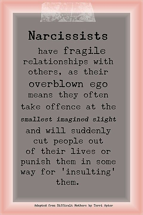 Narcissist...this you may see occasionally in your friendships or in extended family