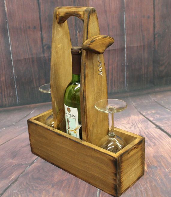Wood Whisky Bottle Holder Ideas: Rustic Wood Wine Caddy Wooden Wine Bottle And Glasses