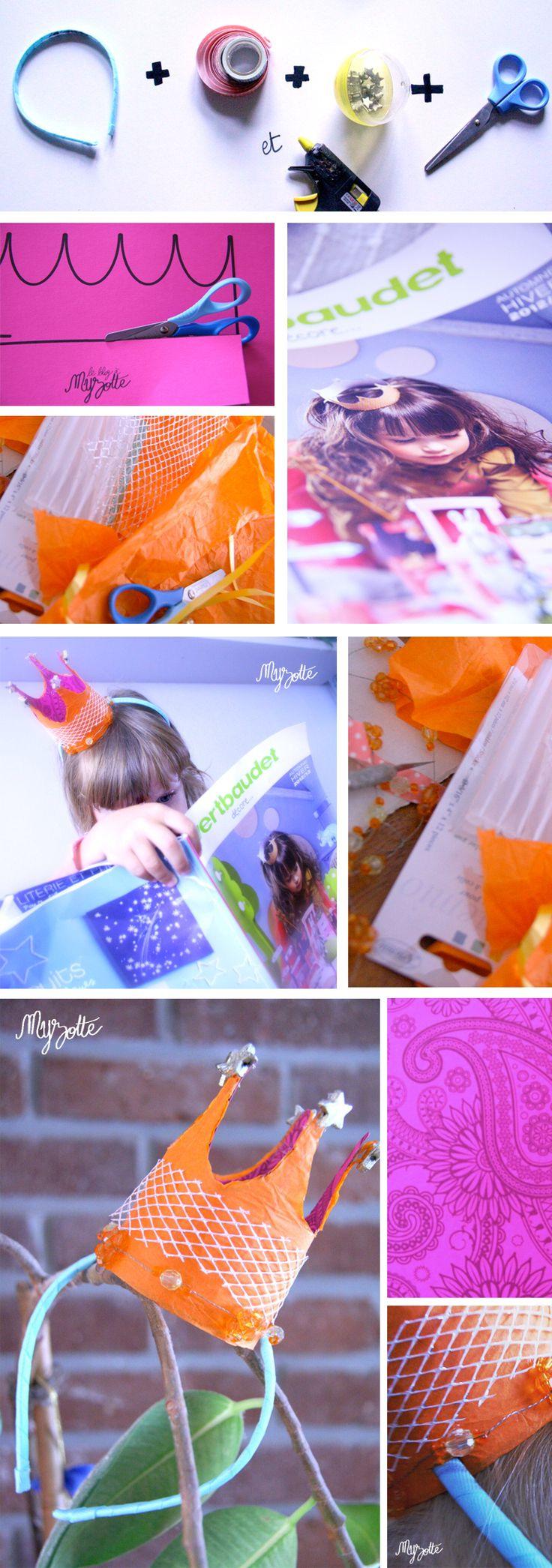 """Couronnage (de princesse) © Myzotte .  Création manuelle inspirée par la couronne de la petite fille en couverture du VERT BAUDETT """"Décore"""" saison hiver 2012-2013."""