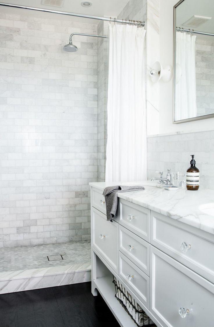 bathroom, marble subway tile, white sink countertop