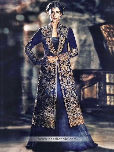 Stand collar evening gown, embroidered full sleeves front slit long shirt with lehenga and veils, midnight blue