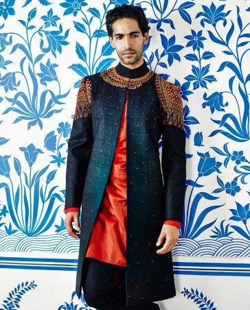 Black & Dark Orange Asymmetrical Sherwani Set