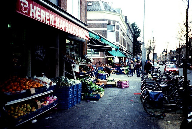 Lombok Street, Utrecht, The Netherlands. Food and Vegetables lining the roads.