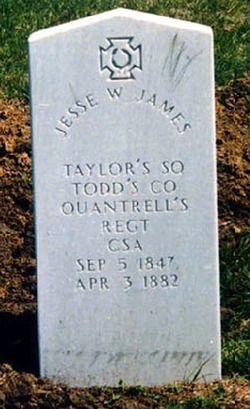 Jesse Woodson James 1847-1882 Kearney City Cemetery, Kearney Missouri Confederate Soldier. Robber. Murderer.