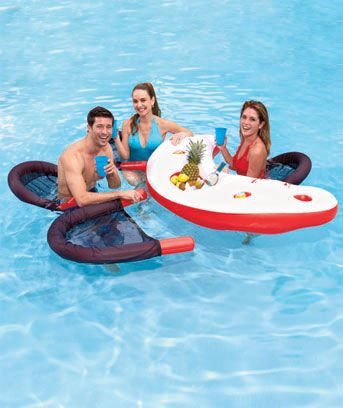 Float your worries away and stay refreshed with an inflatablewater bar. Sit in one of the chairs and grab a beverage from one of the 4 cup holders. It is