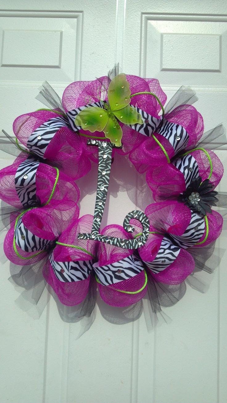 """L"" Deco Mesh Wreath by Tonia"