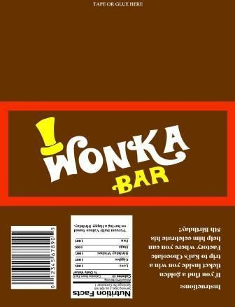 Willy Wonka chocolate wrapper and golden ticket | InkCharmingDesigns - Digital Art  on ArtFire