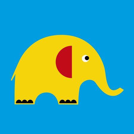 yellow elephant card on blue