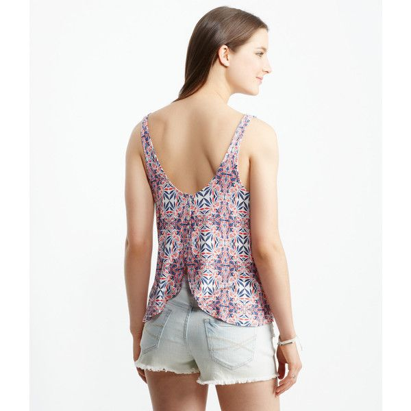 Aeropostale Tulip Buttoned-Back Tank ($12) ❤ liked on Polyvore featuring tops, cream, relaxed fit tank top, rayon tops, white tank, strappy tank top and relaxed fit tops