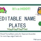 It's a Hoot! These were made for an Owl/Woodland themed classroom. Included are an editable student name plates and subject name plates.