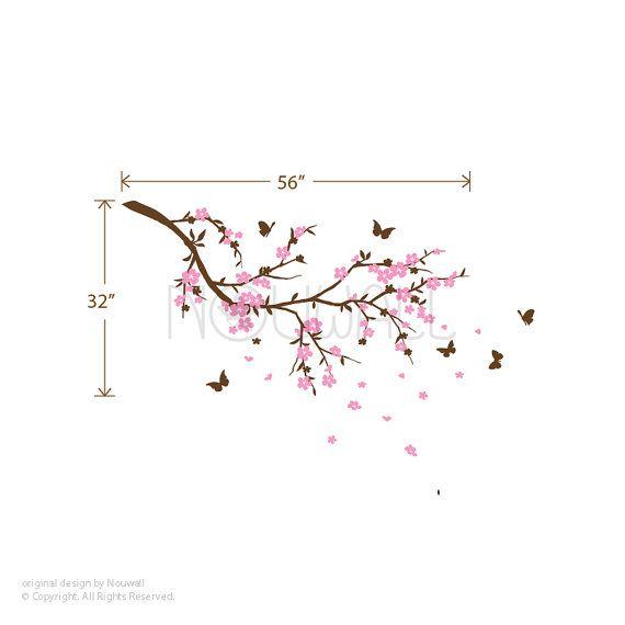 Cherry Blossom branch bloem boom slaapkamer vlinders door NouWall