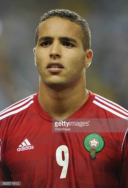 Youssef El Arabi of Morocco during the 2012 African Cup of Nations Group C match between Gabon and Morocco at the Stade de l'Amitie in Libreville...