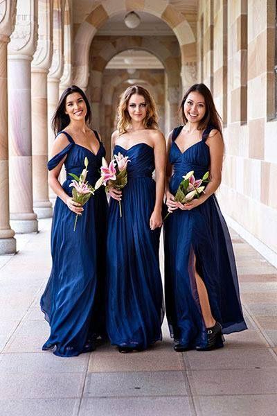 Azul damas de honor