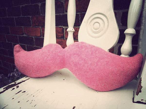 moustache pillow - please message me for available colours : ). $37.20, via Etsy.