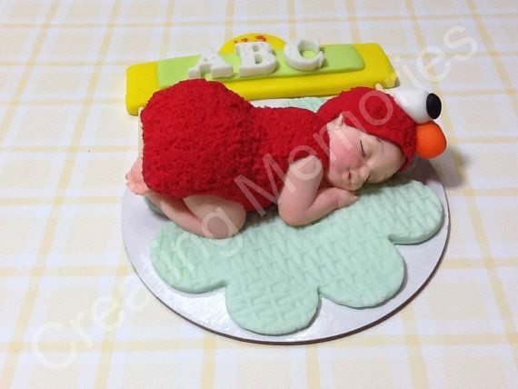 Fondant Baby In Elmo Outfit Cake Topper - Large