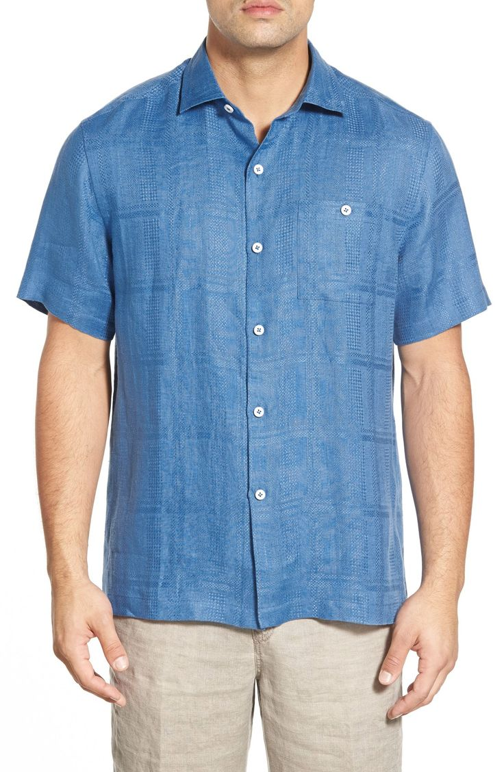 Tommy Bahama 'San Marino' Island Modern Fit Linen Camp Shirt - Bright Cobalt