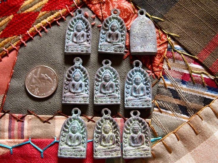 Oxidized Bronze Thai Buddha Amulet Pendant Rounded Arch
