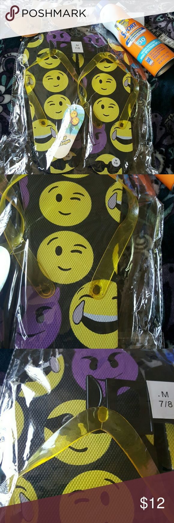 "Flip flop NEW Black w/emoji*s sz 7/8 medium Brand NEW in bag flip flops made of soft rubber. Background mostly black w Emoji*s..in yellow & purple. Sz 7/8 measures approx. 10"" tip of toe to heel .😎🤔😏😉🙁😒😞😔 Listing is for flip flops only. Flip Flop Shoes Sandals"