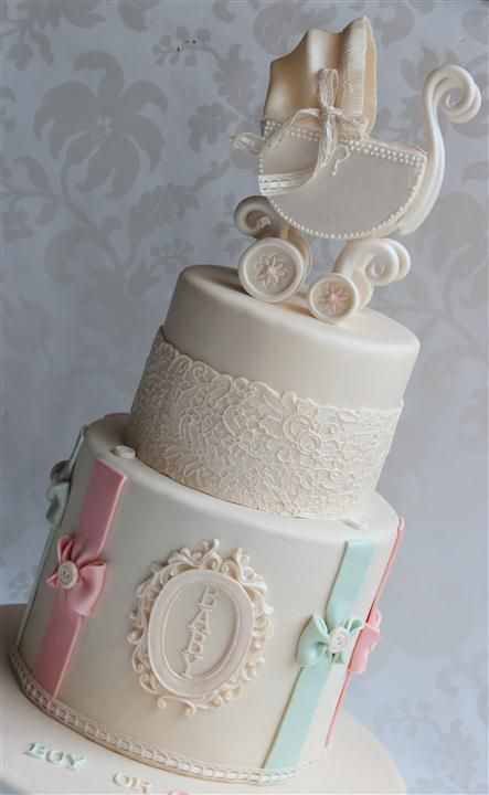 Beautiful #Baby #Cake with lace detailing and gorgeous baby carriage! We love and had to share! Great #CakeDecorating!