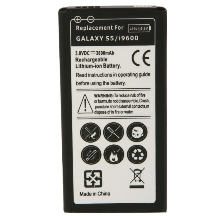 3800mAh 3.8V High Capacity Rechargeable Lithium Battery for Samsung Galaxy Galaxy S5/i9600 - Tmart