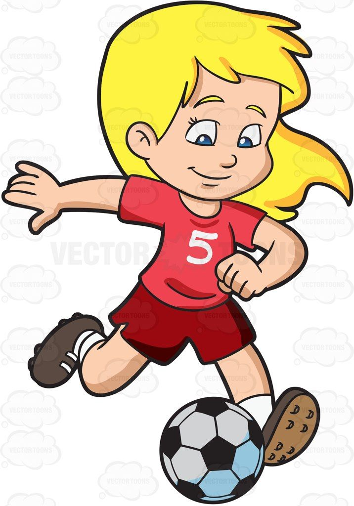 Cartoon A Girl Kicking A Soccer Ball vector clip art with commercial use rights. Download instantly.