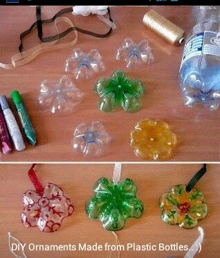 Ornaments made from bottoms of soda bottles