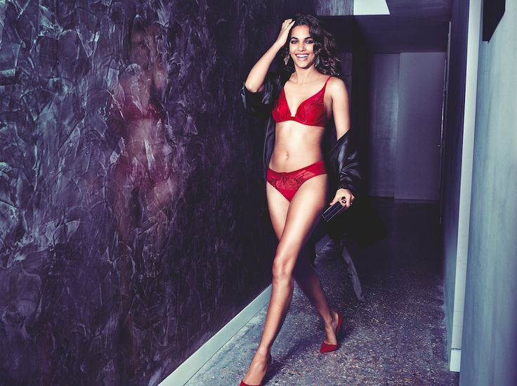 This month is party season! Photographed: Enchanted Spotlight wired bra in Mars red, with Enchanted Xmas robe in black