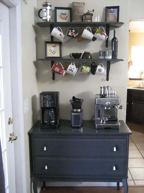 coffee bar near my kitchen...like this idea!