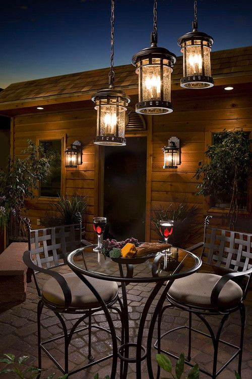 American country outdoor pendant light fixtures with small bar table and bar stools
