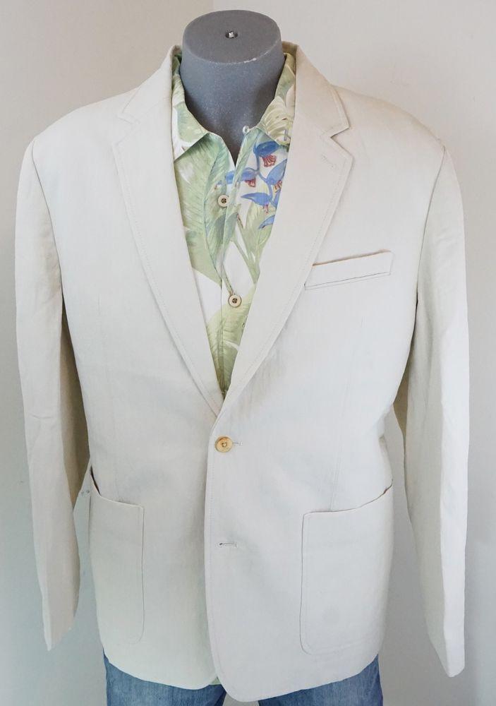 New $325 Men's Tommy Bahama Sport Blazer #Corsica Warm Sand Silk Linen L XL #TommyBahama #TwoButton