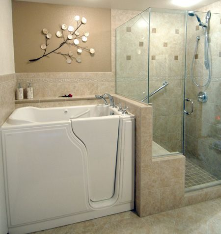 In this master bathroom remodel we installed a walk in bathtub and a more easily accessible and useable shower.  As you can see, aging in place design does not have to look 'institutional'. Beauty and usability can go hand-in-hand, allowing our clients to enjoy a high-quality of life without giving up a beautiful surrounding ~ http://walkinshowers.org/best-walk-in-tub-reviews.html