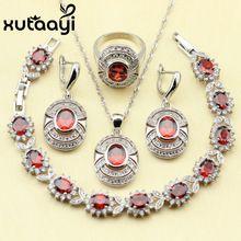 Rojo Granate Blanco Circón Joyería de La Boda de Plata de ley 925 Mujeres Pendientes Anillo Collar Pendiente Pulsera(China (Mainland))