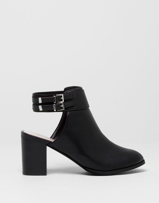 pull bear chaussures bottes et bottines bottines talon ouvertes derri re noir. Black Bedroom Furniture Sets. Home Design Ideas