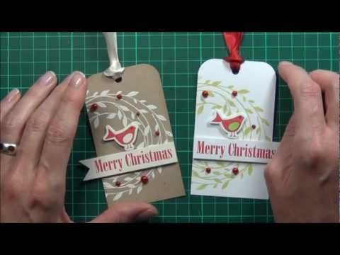 Lostinpaper video tutorial - embossed Hero Arts Christmas tags for ABNH